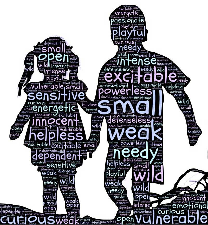 silhouette of children filled with words identifying emotions